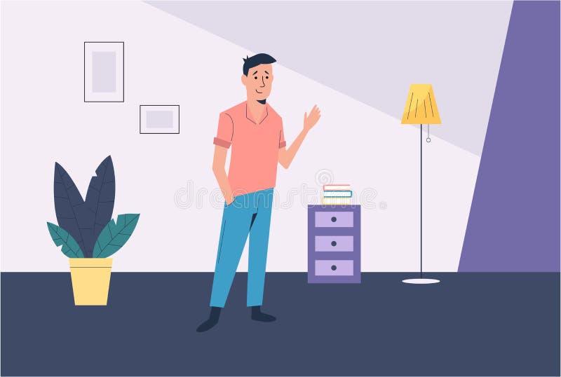 Mannen i rummet Konstillustration royaltyfri illustrationer