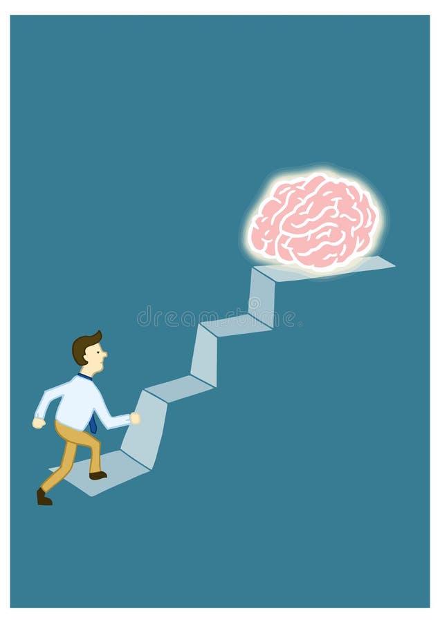 Mannen klättrar trappan till en stor hjärna, framställningen av mänsklig framgång och intelligens stock illustrationer