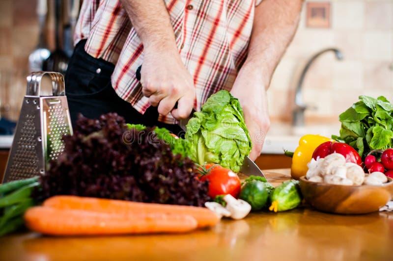 Mannen klipper nya vårgrönsaker royaltyfri bild