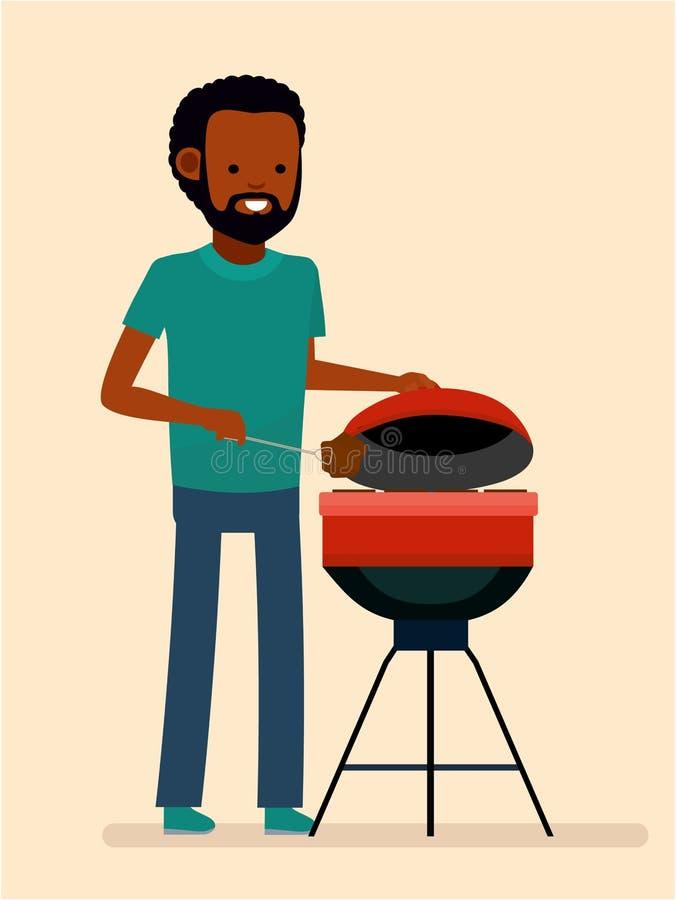 Mannen lagar mat ett grillfestgaller Småfiskkött och korvar på brand royaltyfri illustrationer