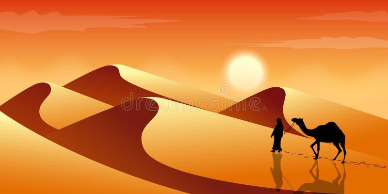 Mannen leder en kamel till och med öknen exotisk liggande Sander och dyn Turism och resande vektor illustrationer