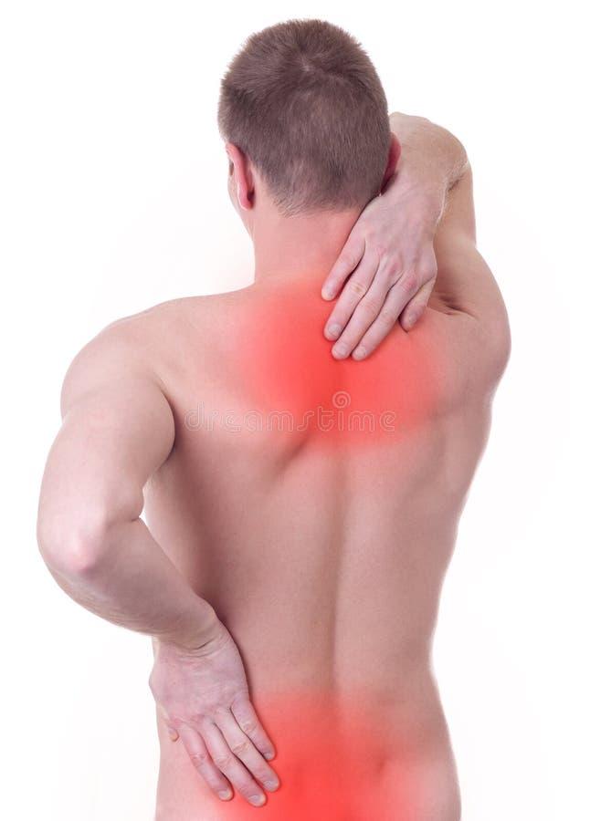 Mannen lider från smärtar i ryggen royaltyfri fotografi