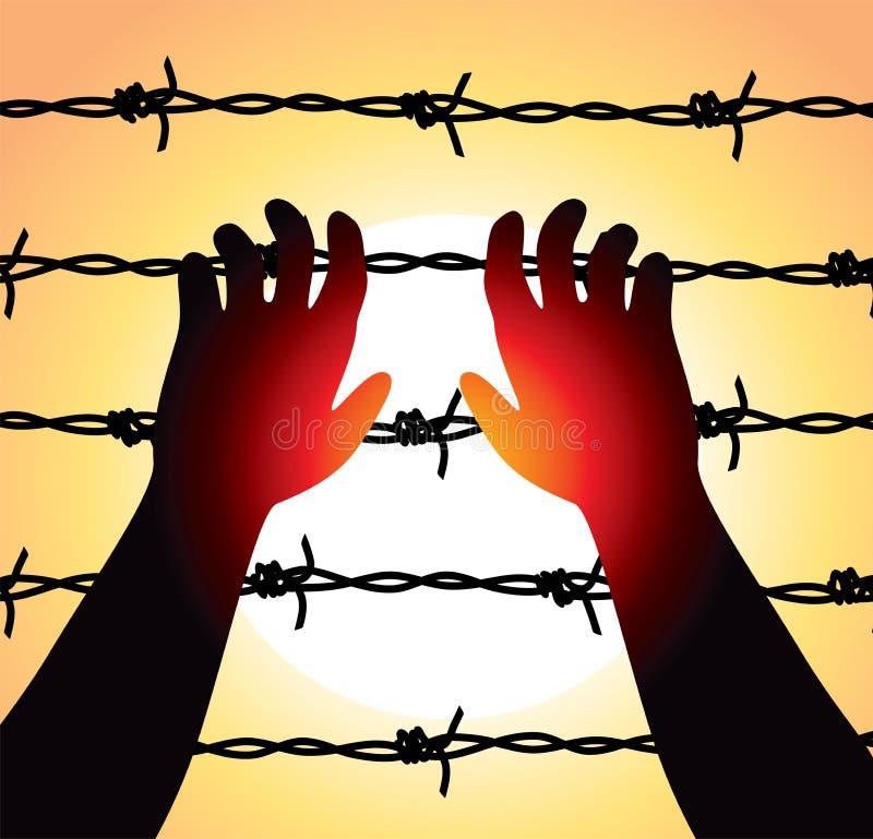 Mannen lyftte händer över försett med en hulling - binda fängelsegränsen stock illustrationer