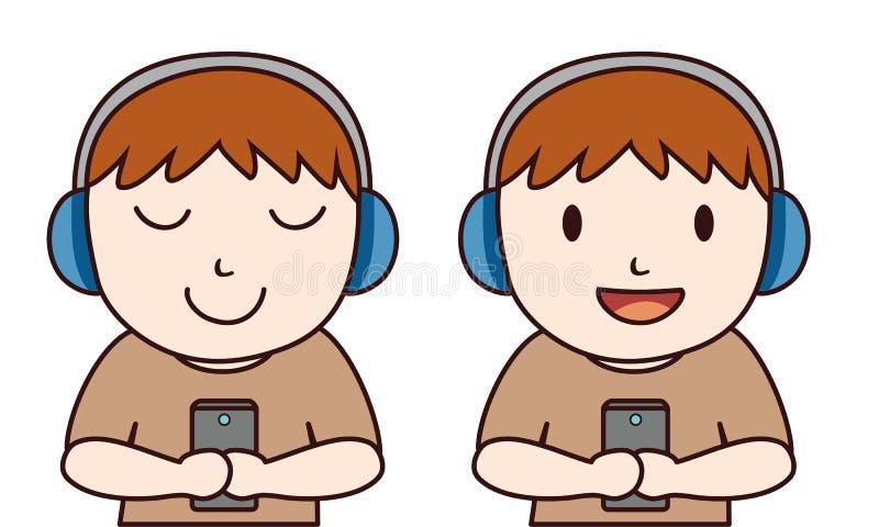 Mannen lyssnar musik med hörlurar med mikrofon royaltyfri illustrationer