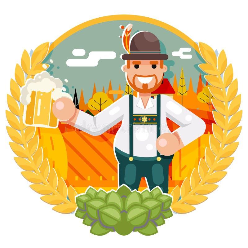 Mannen med öl rånar den mest oktoberfest illustrationen för vektorn för designen för lägenheten för affischfestivalberöm vektor illustrationer