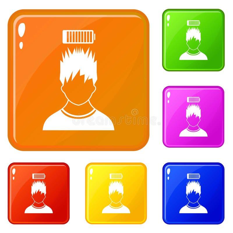 Mannen med över huvudet symboler för det låga batteriet ställde in vektorfärg vektor illustrationer