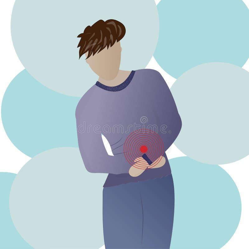 Mannen med buk- smärtar tecken vektor stock illustrationer