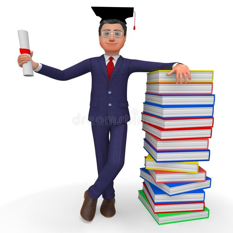 Mannen med diplomet betyder ny akademikert och Phd vektor illustrationer