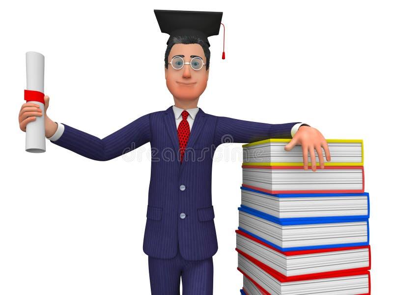 Mannen med diplomet föreställer nytt akademikert och förlage stock illustrationer