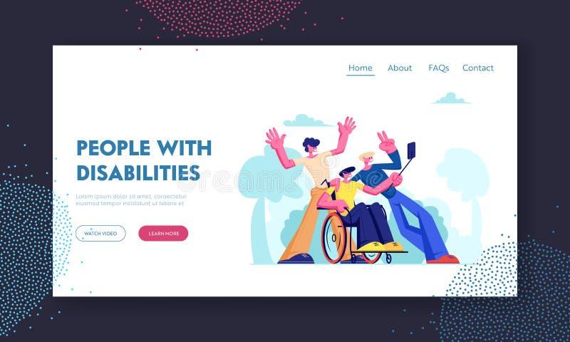 Mannen med fysisk oordning sitter i rullstol med vänner omkring, gruppen av Mates Making Selfie Outdoors Kamratskap förbindelse royaltyfri illustrationer