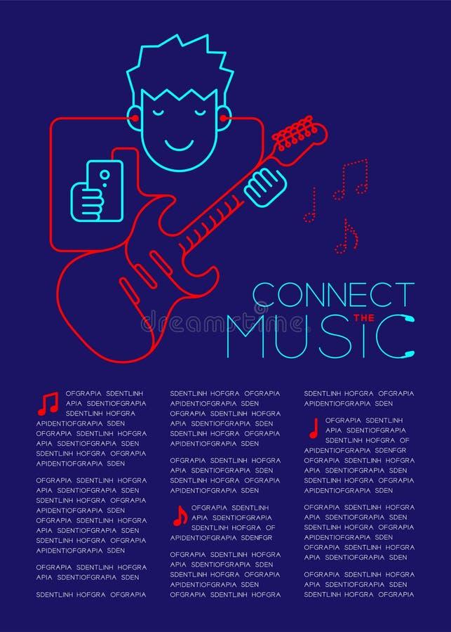 Mannen med hörluren och smartphonen, form för den elektriska gitarren som göras från kabel, förbinder illustr för designen för or royaltyfri illustrationer