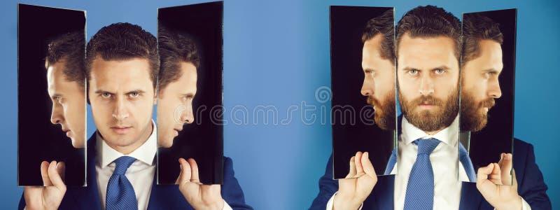 Mannen med många vänder mot och profiler i speglar royaltyfri foto