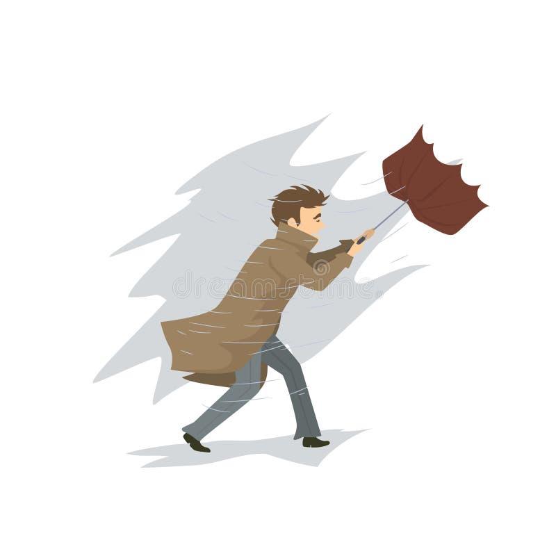 Mannen med paraplyet blåsas bort av stormen för stark vind och regnvektorillustrationen stock illustrationer