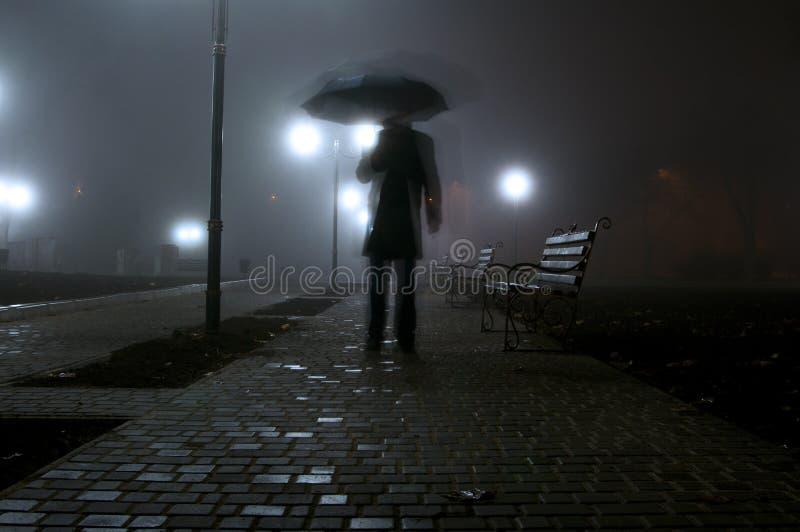 Mannen med paraplyet som går i i natten, parkerar royaltyfria bilder