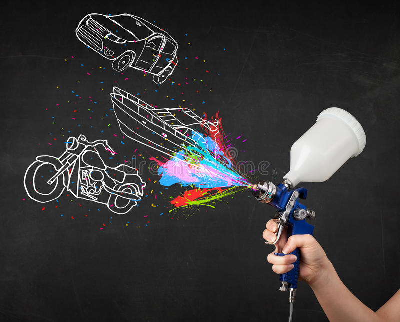 Mannen med retuschsprutasprutmålningsfärg med bilen, fartyget och motorcykeln drar stock illustrationer