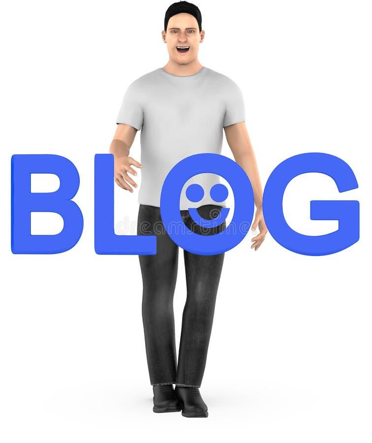 mannen och bloggen för tecken 3d smsar med lycklig smileyemoji stock illustrationer