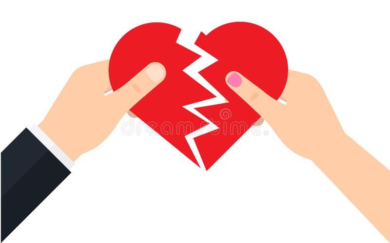Mannen och en kvinnlig rymmer två halva av en bruten hjärta royaltyfri illustrationer