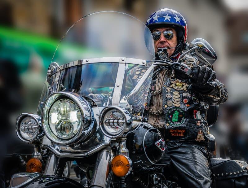 Mannen och hans Harley Davidson royaltyfri bild