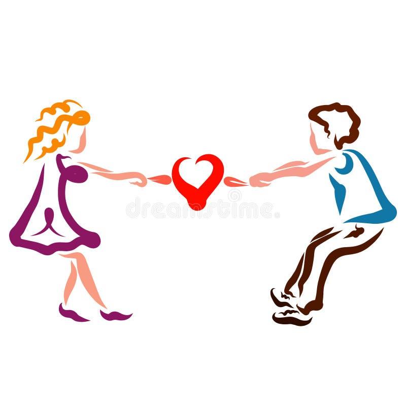 Mannen och kvinnan önskar att dela hjärtan, grälar stock illustrationer