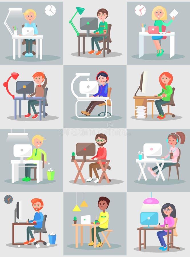 Mannen och kvinnan arbetar i regeringsställning på datoruppsättningen royaltyfri illustrationer