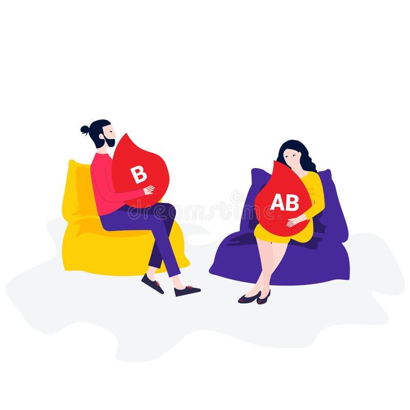 Mannen och kvinnan i kudde-stolen ändrar ditt blod stock illustrationer