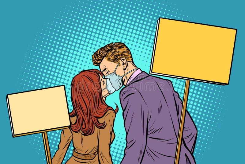 Mannen och kvinnan kopplar ihop att protestera på samla ekologi kyss vektor illustrationer