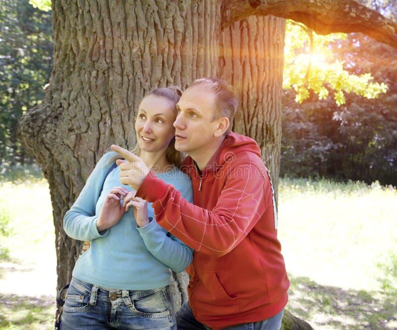 Mannen och kvinnan nära en ek i sommardag visar till sidan arkivbild