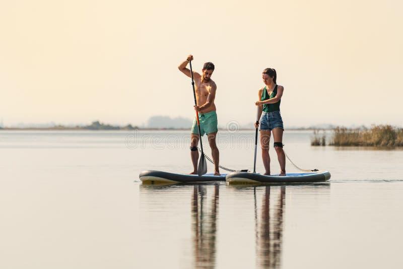 Mannen och kvinnan står paddleboarding upp royaltyfri foto