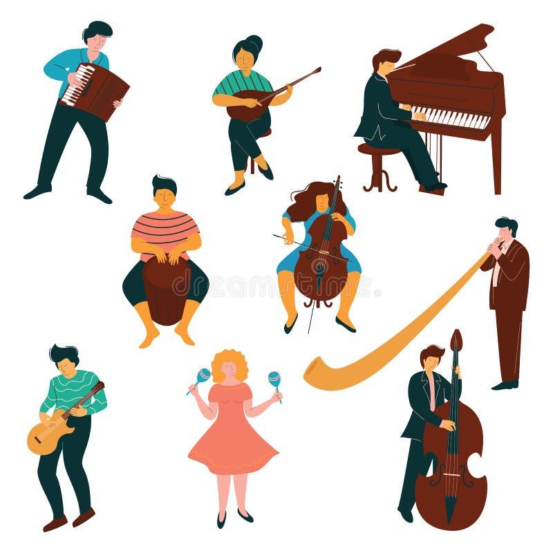 Mannen och kvinnliga musikertecken ställde in, folk som spelar på klassisk och modern instrumentvektorillustration stock illustrationer
