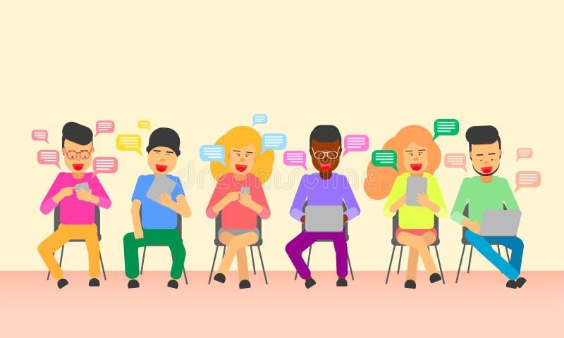 Mannen och kvinnlign sitter på smartphonen för bärbara datorn för stolbruksteknologi trendinternetlivsstil Vektorillustration vektor illustrationer