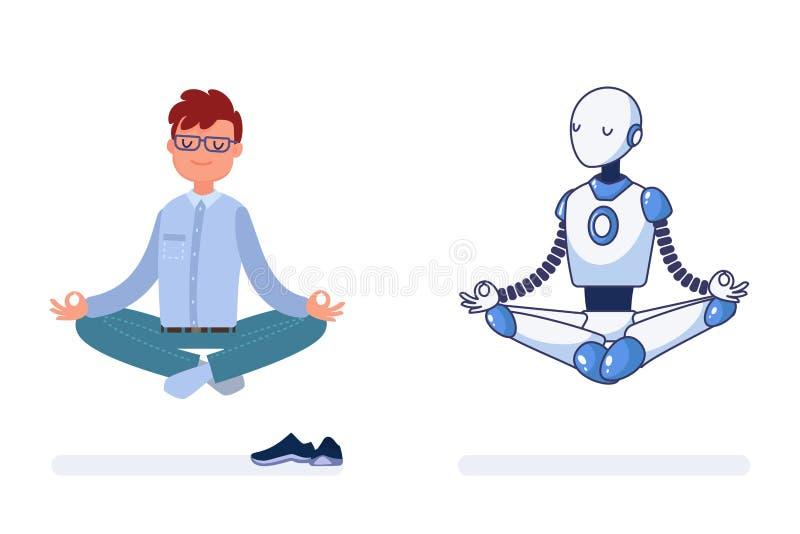 Mannen och roboten gör yoga tillsammans vektor illustrationer
