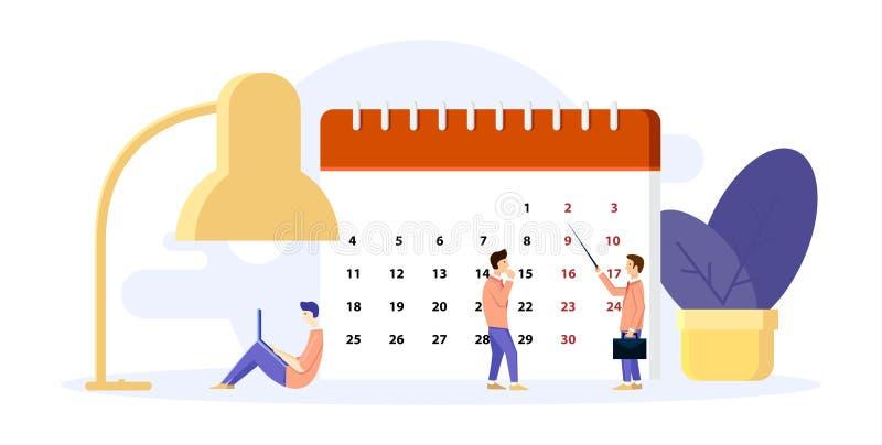Mannen organiserar hans dag Byggandeplan på kalendern Fungera p? anteckningsboken stor lampa Begrepp i plan stil ocks? vektor f?r vektor illustrationer