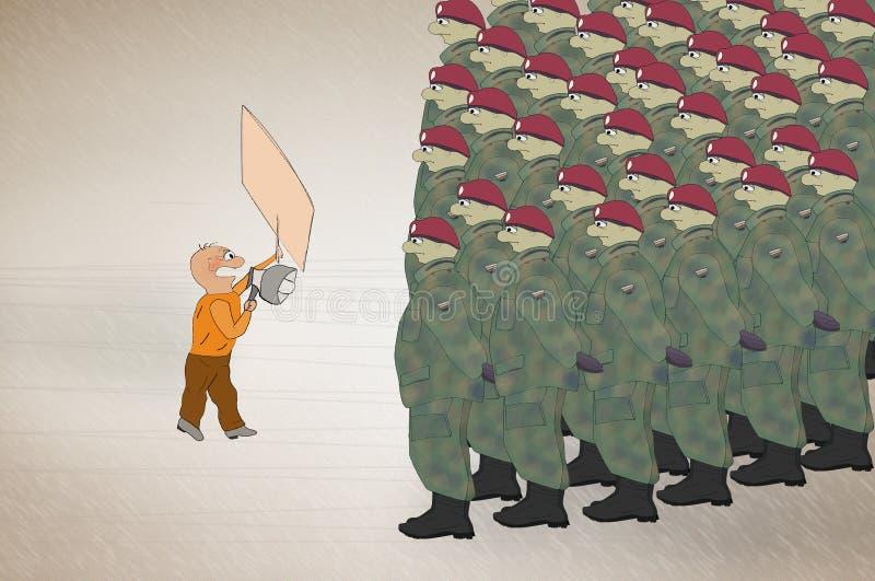 Mannen på framdel av soldater tränger ihop att rymma en protest för pappbanerslag stock illustrationer