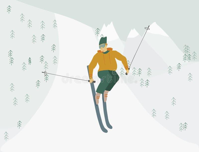 Mannen på skidar i det mänskliga diagramet för berg i rörelse stock illustrationer