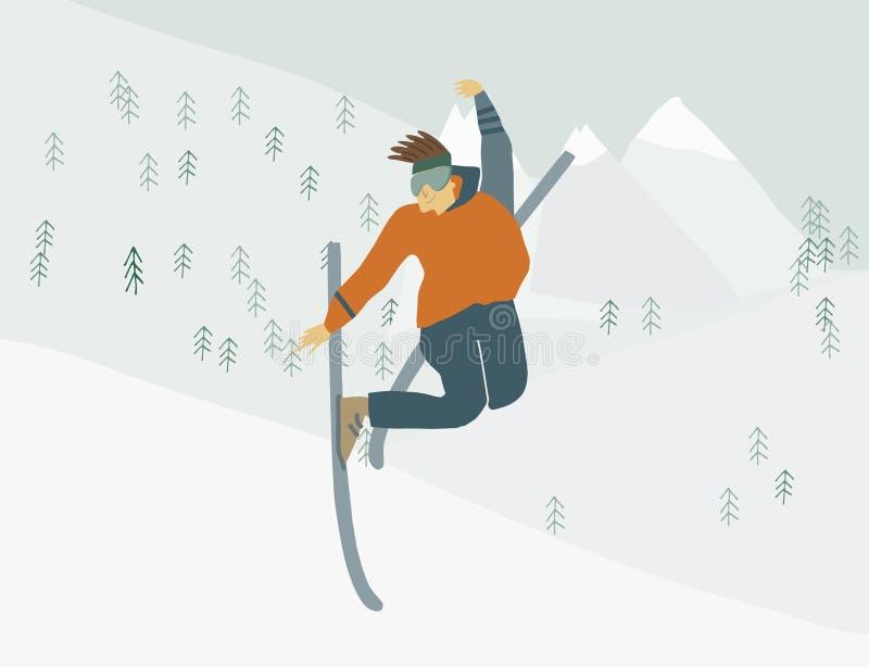 Mannen på skidar i det mänskliga diagramet för berg i rörelse royaltyfri illustrationer