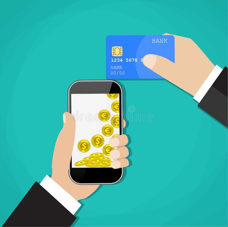 Mannen räcker den hållande mobiltelefonen och kreditkorten royaltyfri illustrationer
