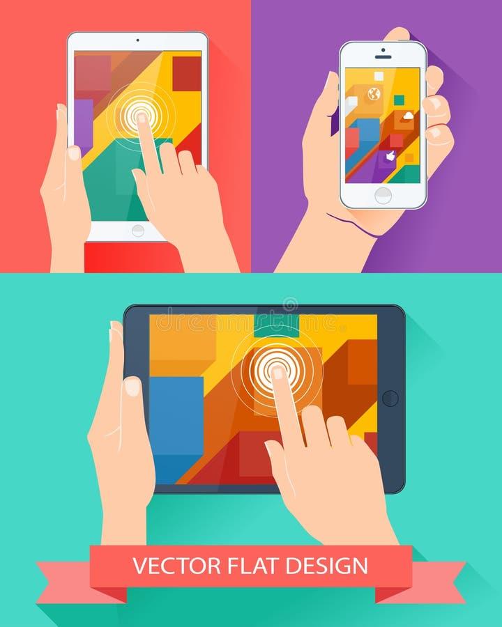 Mannen räcker den hållande smartphonen och minnestavlan. Vektorlägenhetdesign. stock illustrationer