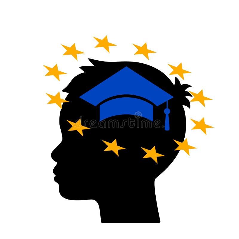 Mannen reflekterar på utbildning i Europa begrepp av att studera utomlands Plan isolerad vektorillustration vektor illustrationer