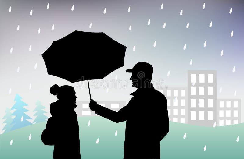 Mannen rymmer ett paraply över flickan som skyddar henne från regn, dåligt regnigt väder stock illustrationer