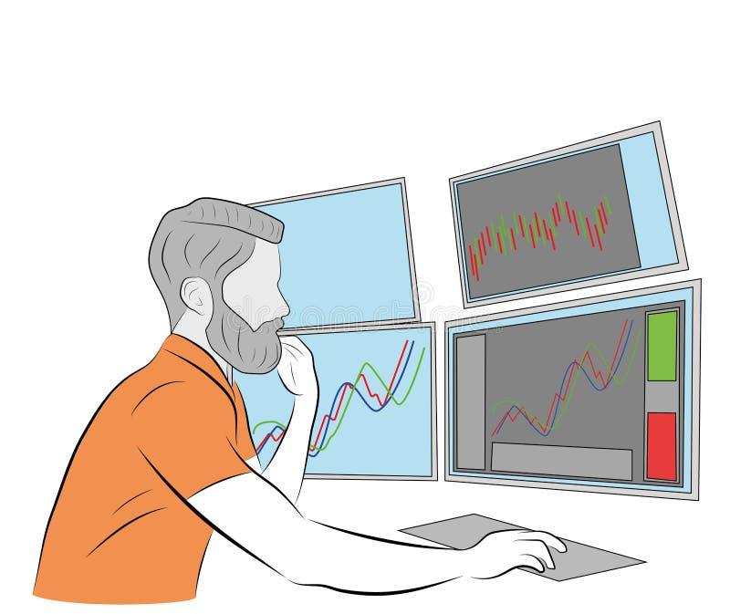 Mannen sitter på datoren många bildskärmar håller spåret av utbytet också vektor för coreldrawillustration royaltyfri illustrationer