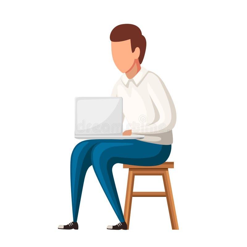 Mannen sitter på stol med bärbara datorn Ingen framsidateckendesign Plan illustration som isoleras på vit bakgrund royaltyfri illustrationer