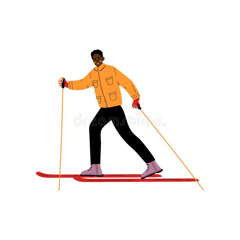 Mannen skidar på, den manliga afrikansk amerikanidrottsman nen Character Skiing, vintersporten, aktiv sund livsstilvektorillustra stock illustrationer