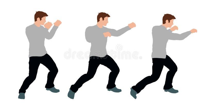 Mannen slår en stansmaskin bakgrund isolerad white Vektorillustra stock illustrationer