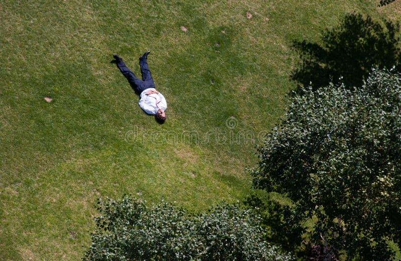 Mannen solbadar i en parkera i centrala London royaltyfri foto