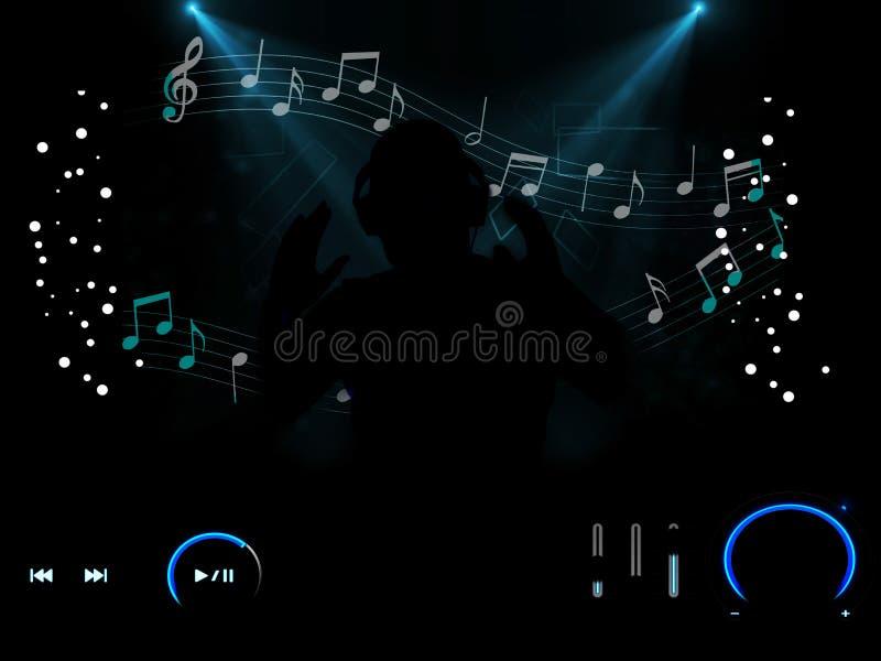 Mannen som bär hörlurar som älskar musik med spelaren, knäppas fotografering för bildbyråer