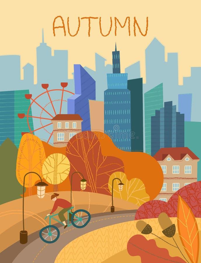 Mannen som cyklar till och med en stad, parkerar i höst med färgrik orange lövverk på träden som är begreppsmässiga av säsongerna stock illustrationer