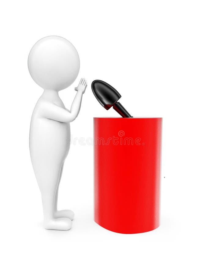 mannen som 3d talar i framdel av ett cylindriskt formpodium med en mic, fäste på överkanten av den begrepp fotografering för bildbyråer