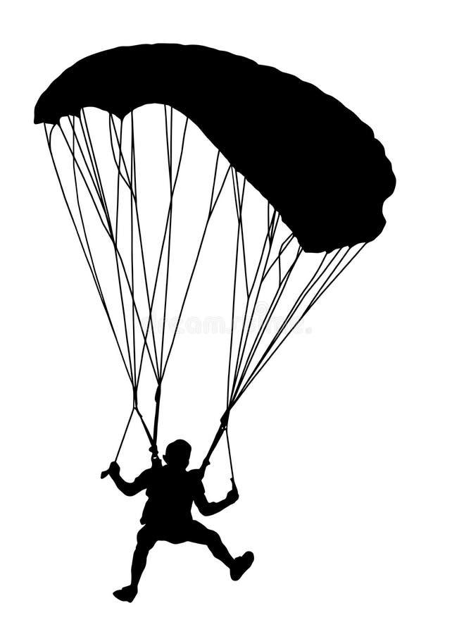 Mannen som förbi stiger ned, hoppa fallskärm royaltyfri illustrationer