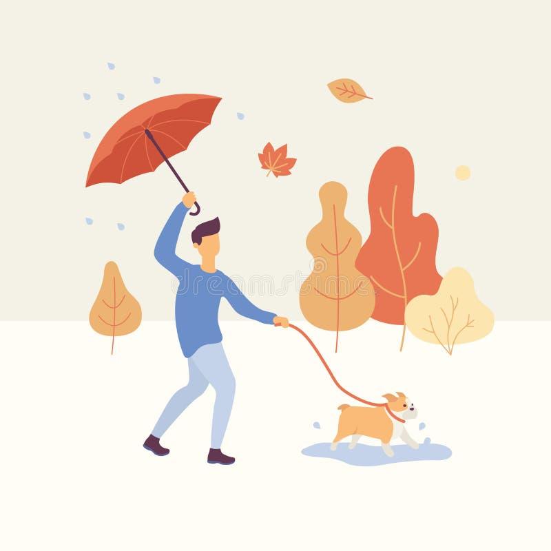 Mannen som går hunden i hösten, parkerar i regnigt väder som rymmer ett paraply, apelsin, och gulingträd är på vektor illustrationer