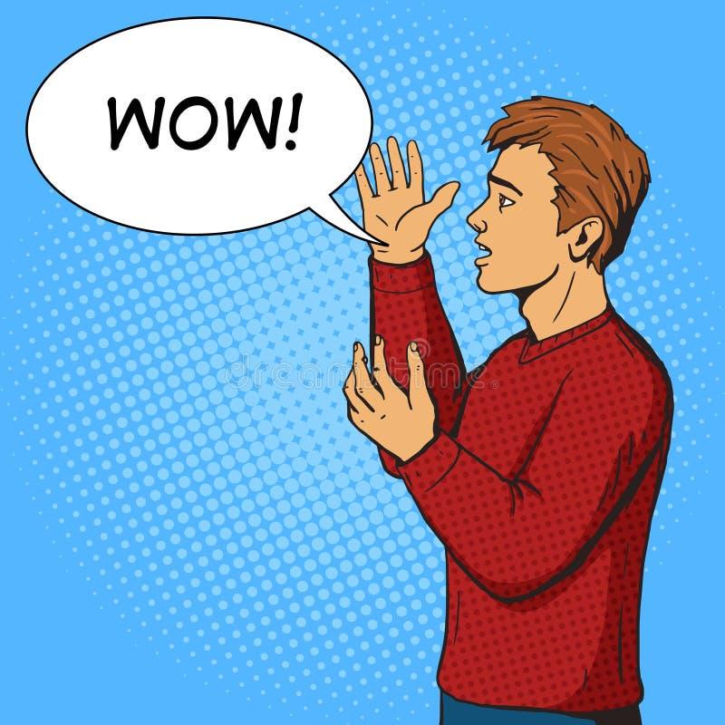 Mannen som gör en gest och, argumenterar vektorn för popkonst royaltyfri illustrationer
